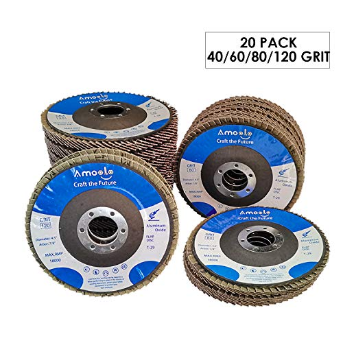 amoolo 4 1/2 Flap Disc (20 Pack), T29 Aluminum Oxide Angle Grinder Sanding Disc (40 60 80 120 Grit), Abrasive Grinding Wheel (7/8 inch Arbor Size)