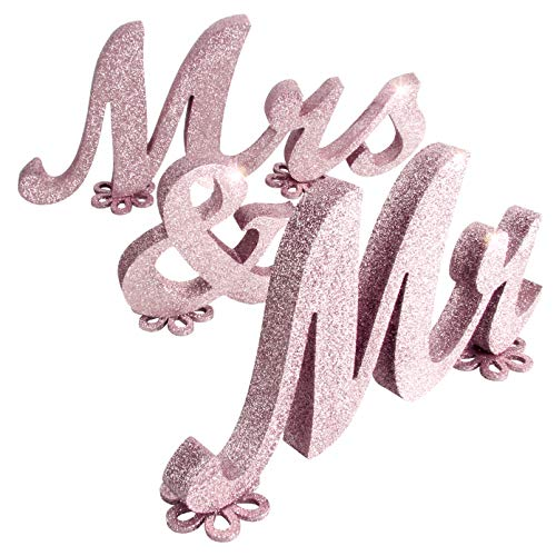 Cheap SROOD 36″ x 7″ Mr and Mrs Sign Wedding Decorations Mr & Mrs Sign Sweetheart Wedding Table Decorations Wooden Letters Rose Gold Glitter