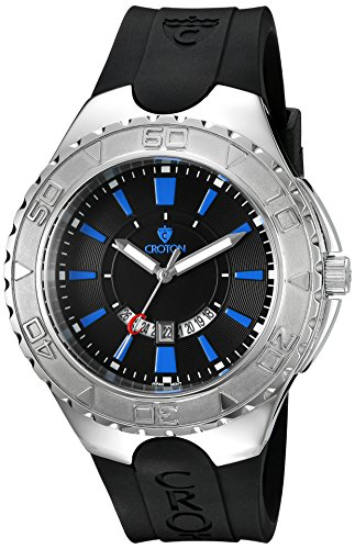 Croton Men's 'SUPER' Quartz Stainless Steel and Silicone ...