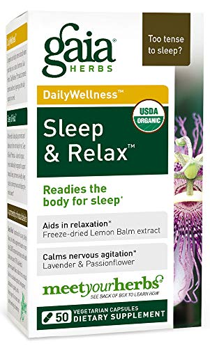 Gaia Herbs Sleep & Relax, Vegan Capsules, 50 Count - Organic Non-Habit Forming Herbal Sleep Aid, Valerian Root, Lavender, Lemon Balm