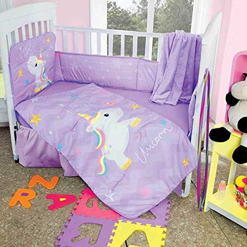DPW ユニコーン かわいいベビーベッド寝具セット 装飾 子供部屋 レインボー パープル 馬 シャワーギフト 5ピース   B07GWHYQMJ