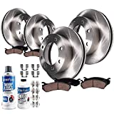 Detroit Axle - All (4) Front and Rear Brake Rotors w/Ceramic Pads w/Hardware & Brake Cleaner & Fluid for 2000-2005 Ford Excursion 4WD - [2000-04 F-250 Super Duty 4WD]