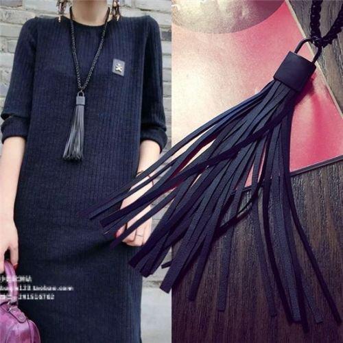 Leather Tassel Pendant Sweater Necklace