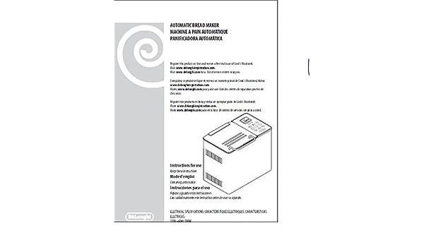 Delonghi Bread Machine Maker Instruction Manual (Model ...