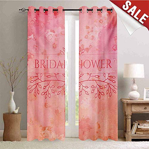 Hengshu Bridal Shower Decor Curtains by Bride Invitation Grunge Abstract Backdrop Floral Design Print Room Darkening Wide Curtains W72 x L108 Inch Pale Pink and Salmon (Baby Pink Shower Invitations Paisley)