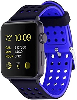 Greatfine Smartwatch Fitness Deporte Reemplaza para Apple Watch Accesorios Reemplazo de Banda de la Muñeca para Apple Watch 42mm (42MM, Blackblue)