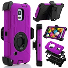 Samsung Galaxy Note 4 Case, Jwest Full-body Protective Rugged Holster Tough Dual Armor Overlay Case Cover for Galaxy Note 4 With Rotatinge Kickstand Belt Swivel Clip Purple/Black