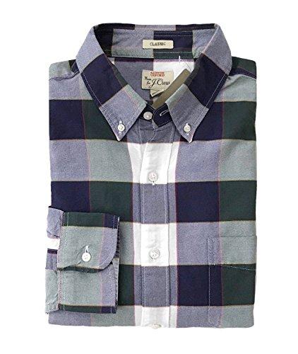 J Crew Men's Classic Fit - Plaid Pima Cotton Oxford Shirt (Large, Navy/Green)