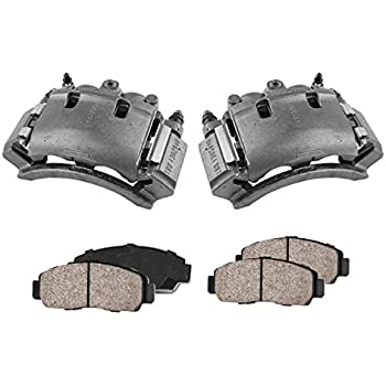 4 CCK02444 Quiet Low Dust Ceramic Brake Pads 2 REAR Premium Loaded OE Remanufactured Caliper Assembly Set +