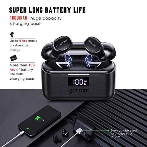 gorsun True Wireless Earbuds Bluetooth Headphones with Built-in Microphone, Waterproof TWS Stereo Earphones with LED Display Charging Case,Touch Control Headset for Sport