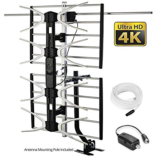 pingbingding HD TV Antenna Outdoor Antenna Digital Antenna Amplified Antenna 150 Mile Long Range Antenna High Gain for UHF/VHF with Mounting Pole & 40FT RG6 Coaxial Cable - Easy Installation (Best Tv Antenna Preamplifier)
