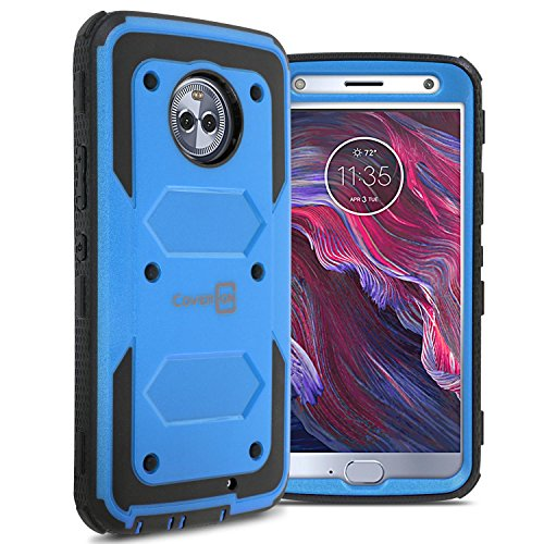 Moto X4 Case, CoverON Tank Series Heavy Duty Full Body Protective Phone Cover for Motorola Moto X4 (2017) - Blue