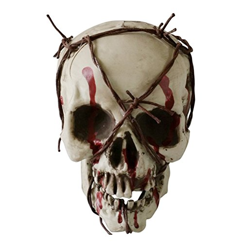 LUOEM Skull Halloween Decorations Plastic Skull Head Decor Iron Wire Twining Skeleton Head Sculpture Haunted House Props for Halloween Drawing Sample and Home Decoration
