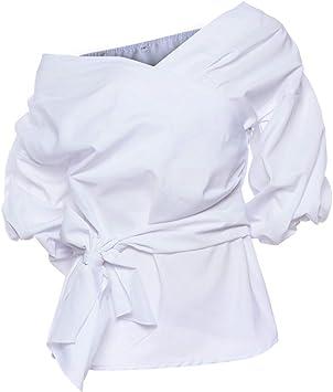 el Nuevo Mujer Sexy Hombro sin Tirantes Cuello en V Camisa,Cruzar Corbata Blusa,Corto la Cintura Corbata Arriba Manga de Soplo/blanco/M: Amazon.es: Bricolaje y herramientas