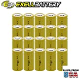 20x Exell C Size 1.2V 3000mAh NiCD Flat Top Rechargeable Batteries for high power static applications (Telecoms, UPS and Smart grid), electric mopeds, meters, radios, RC devices, electric tools