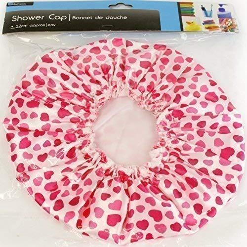 Femme fille bonnet de douche charlotte à cœurs roses imperméable The Home Fusion Company