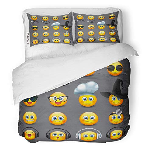 Tarolo Bedding Duvet Cover Set Yellow Doctor Emoticons Smiley Halloween Hat Smile Ball Chat 3 Piece King 104