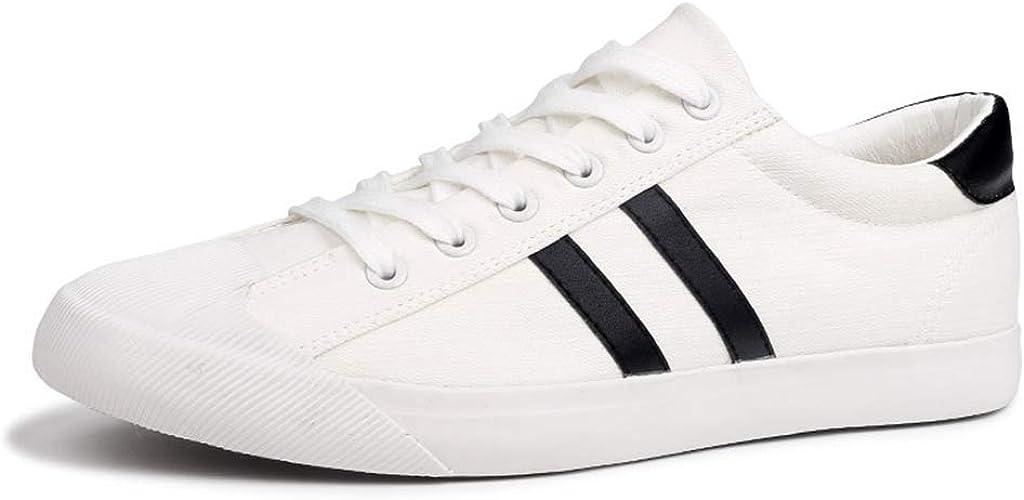 Zapatos de Lona de los Hombres Blanco Casual Flat Lace Up