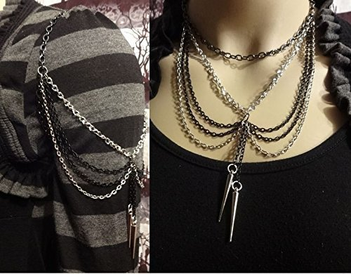 Body Jewelry Multipurpose Silver, Black & Gunmetal Spiked Chain Arm Band & Necklace Adjustable Combo ()