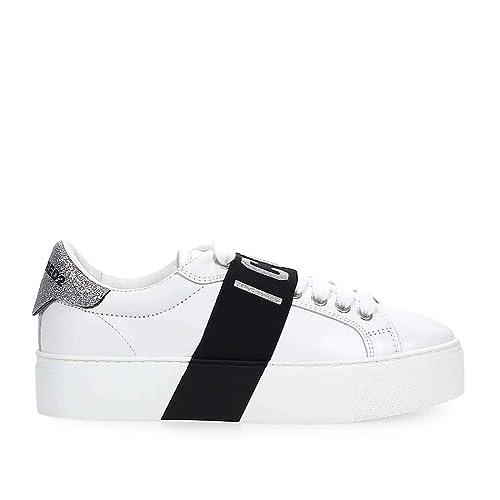 5bc55b7bf DSQUARED2 Scarpe da Donna Sneaker Icon Glitter Bianco Argento SS 2019:  Amazon.it: Scarpe e borse