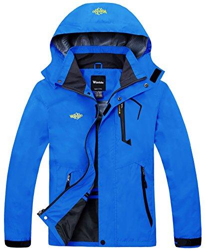 Wantdo Men's Hiking Jacket Detachable Hood Waterproof Rain Jacket Light Blue S