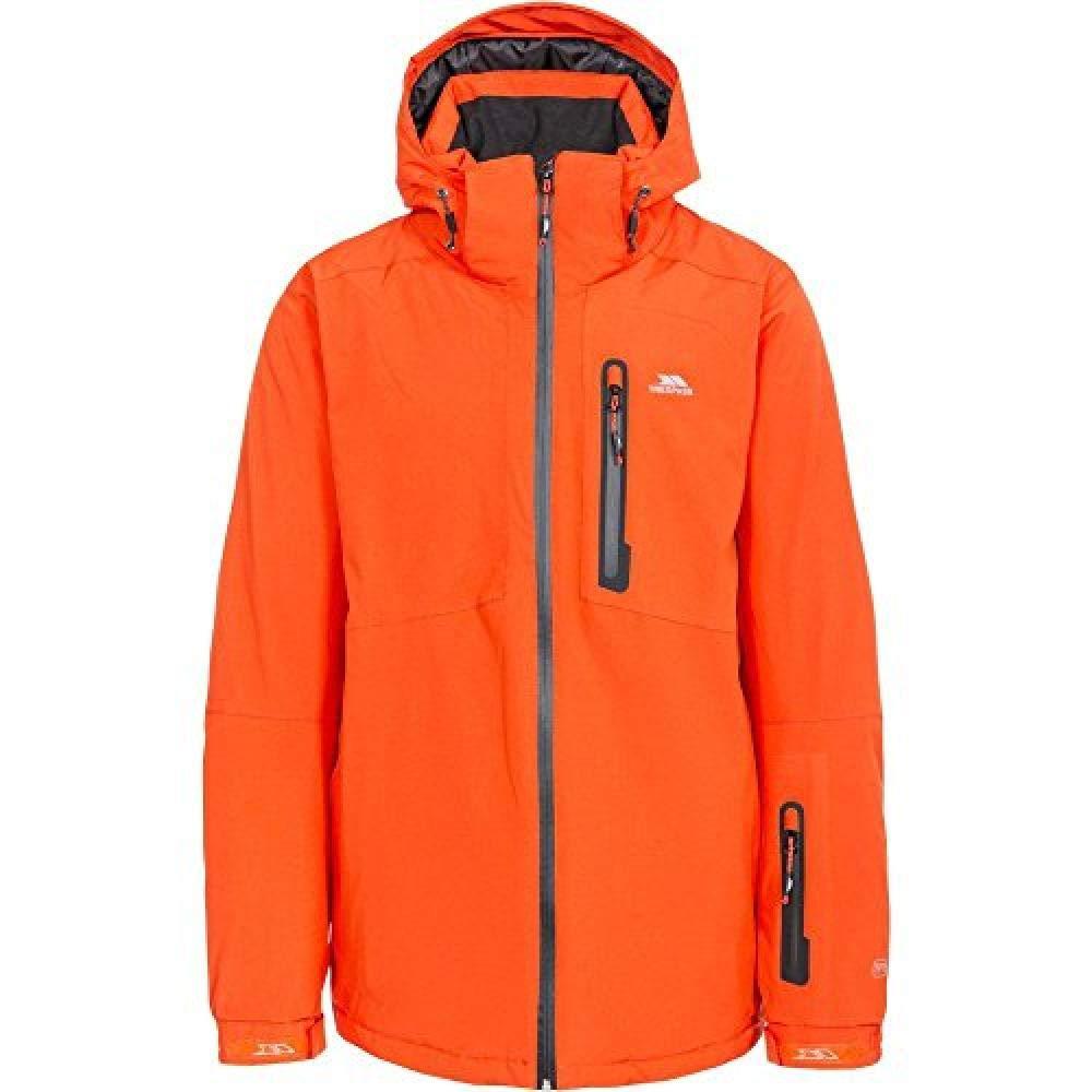 Hot orange LChest 41-43  (104-109cm) Trespass Mens Kilkee Waterproof Windproof Padded Hooded Skiing Jacket