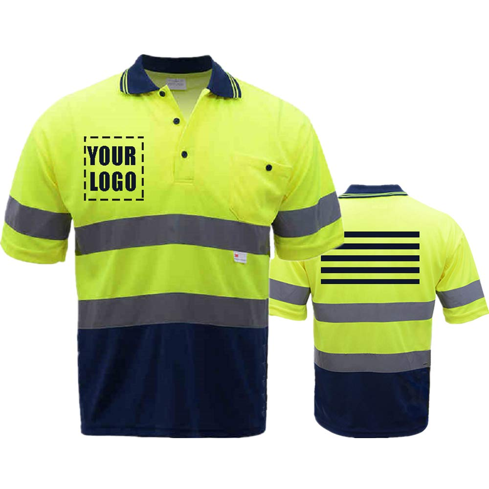 High Visibility Reflective Safety Short Sleeve Polo shirt Hi Vis Work-wear Shirt Reflective Stripes Yellow (Neon Yellow/Blue M)