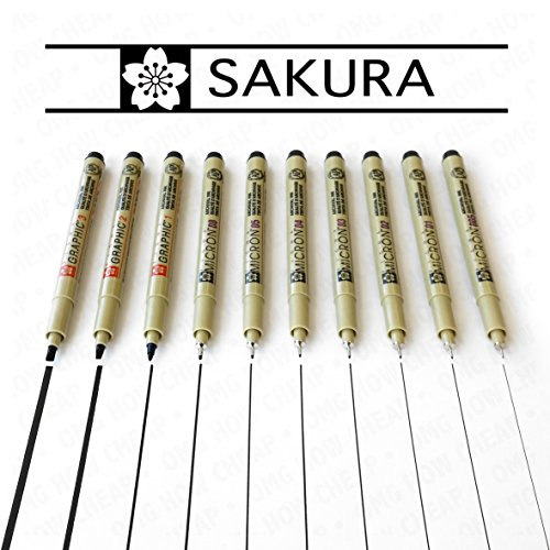 Sakura Pigma Micron & Graphic - Black Pigment Fineliners - Set of 10 - [0.05mm - 3.0mm] by Pigma