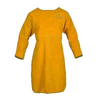 FLAMEER Soldadura Abrigo Largo Delantal Ropa Protectora Ropa para Soldador 100cm Amarillo