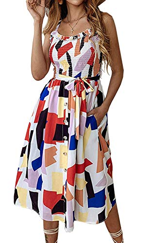 Womens Multi Color Dress - Womens Dresses Summer Beach Floral Midi Sundresses Boho Dress Spaghetti Strap Button Down with Pockets Multicolor Medium