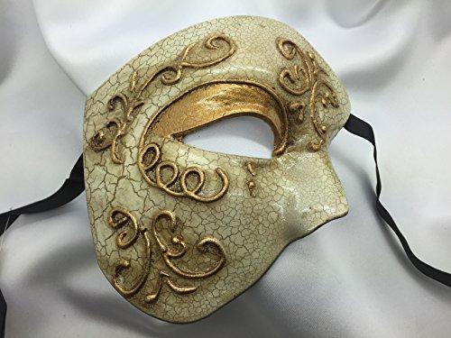 Men's Gold Lining Half Mask Blank Mask Masquerade Mask, Phantom of the Opera Venetian Mardi Gras Venetian Mask