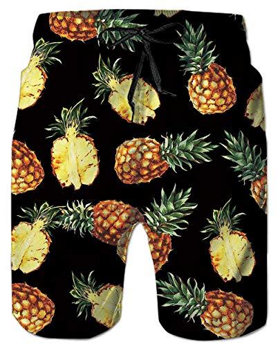 - Mens Beach Shorts 3D Digital Print Yellow Pineapple Tie-Dye Fun Pattern Black Athletic Mesh Liner Sports Swimwear Spandex Compression Boardshorts Swim Trunks for Big Teen Boy Casual Home Wear Outdoor