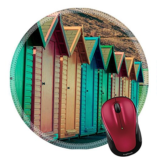 Leisure Vac (Liili Round Mouse Pad Natural Rubber Mousepad IMAGE ID 32875066 View of colorful beach huts summer vacation concept vintage filter applied)
