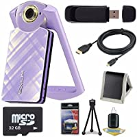 Casio EX-TR60 Self Portrait/ Selfie Digital Camera (Light Violet) + 32GB microSD Class 10 Memory Card + Micro HDMI Cable + SDHC Card USB Reader + Memory Card Wallet + Deluxe Starter Kit 6AVE Bundle Key Pieces Review Image