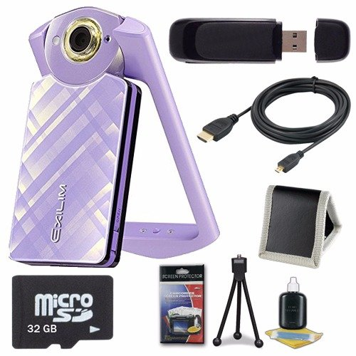 Casio EX-TR60 Self Portrait/ Selfie Digital Camera (Light Violet) + 32GB microSD Class 10 Memory Card + Micro HDMI Cable + SDHC Card USB Reader + Memory Card Wallet + Deluxe Starter Kit 6AVE Bundle