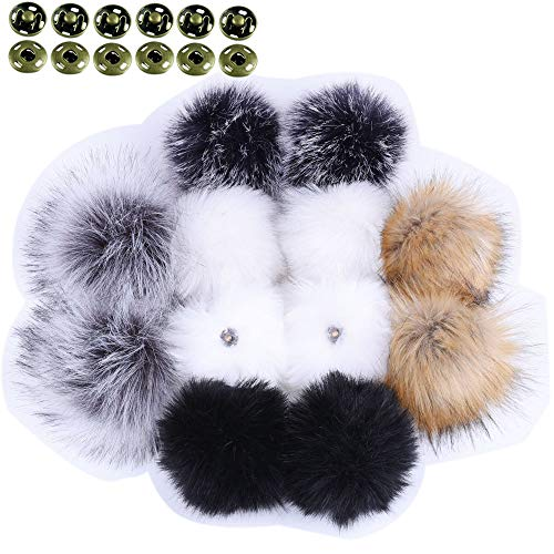 Faux Fur Detachable (LEKUSHA DIY 12pcs Faux Fur Pom Pom Ball for Knitting Hat with Snap, Beanie Hat Fur Ball, Attachable Pompom Ball, Work Great with Knitting Loom)