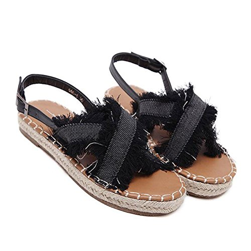Baqijian Cross-Tied Gladiator Sandals Women Classic Denim...