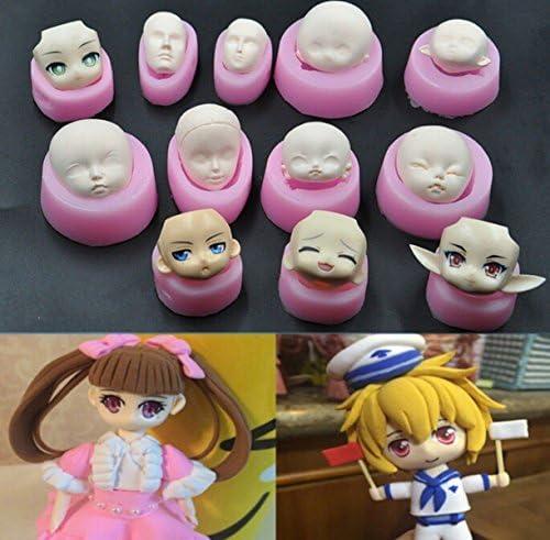 CHENGYIDAたくさんの12人の人間の顔の形の3Dシリコーンケーキフォンダンドモールド、ケーキ装飾用具、石鹸、キャンドルモー