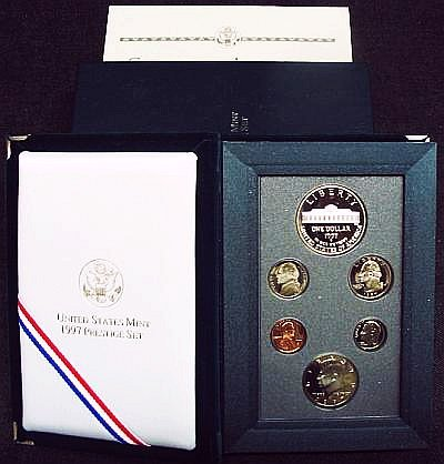 (1997 US Mint Prestige Proof Set 6 Coins Including Botanic Garden Commemorative Dollars)