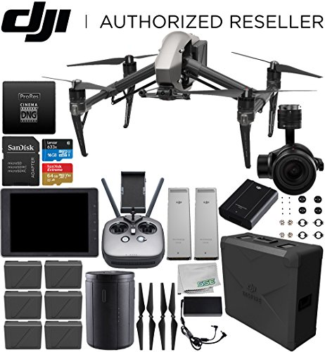 "DJI Inspire 2 Quadcopter with CinemaDNG and Apple ProRes Licenses with CrystalSky 7.85"" High-Brightness Monitor and 2X CINESSD for Inspire 2 Quadcopter (240GB) Bundle"