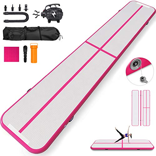 Happybuy 10ft 13ft 16ft 20ft 23ft 26ft 30ft Air Track 8 inches Airtrack 4 inches Inflatable Air Track Tumbling Mat for Gymnastics Martial Arts Cheerleading Tumble Track with Pump Pink 30ft 40x4in