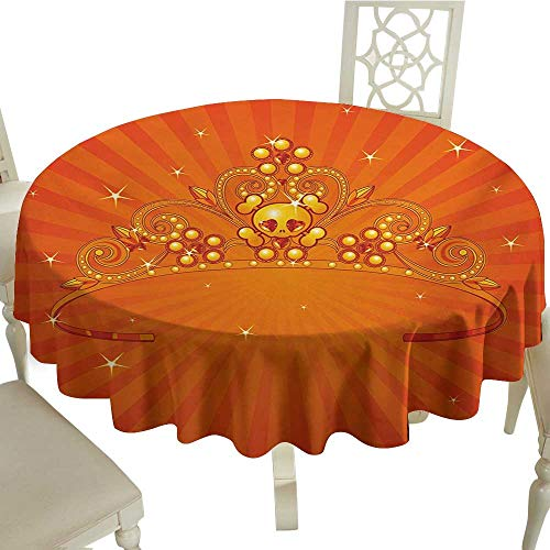 Zodel Stain-Resistant Tablecloth Queen Fancy Halloween Princess Crown with Little Skull Daisies on Radial Orange Backdrop Stars Easy to Clean D60 Suitable for picnics,queuing,Family ()