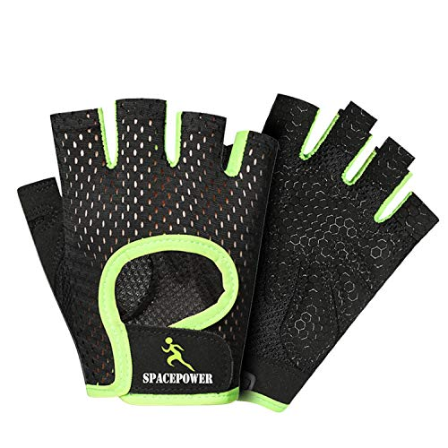 Gym Gloves, Lightweight Breathable Workout Gloves, Ultralight Weight Lifting Gloves for Men & Women (Green, S)