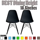 2xhome Set of Two (2) – Plastic Side Chair Black Wooden Legs Eiffel Dining Room Chairs No Arm Arms Armless Molded Plastic Seat Dowel Legs (Black)