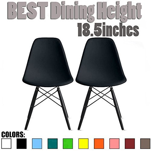 (2xhome Set of Two (2) - Plastic Side Chair Black Wooden Legs Eiffel Dining Room Chairs No Arm Arms Armless Molded Plastic Seat Dowel Legs)