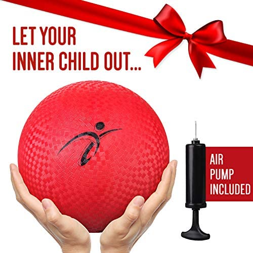 Fitness Factor 10 Inch Red Rubber Playground Ball with Air Pump for Inflatable Balls - Official Size Kickball and Medium to Large Kids Dodgeball and ...