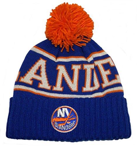 Men's Reebok NHL Cuffed Pom Knit Hat (One Size, New York Islanders)
