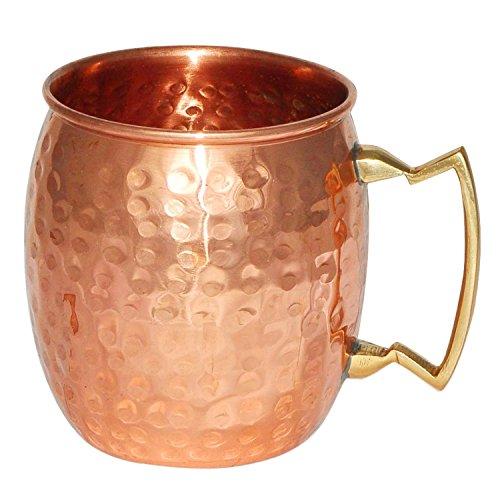 - Rastogi Handicrafts Pure Copper Hand Hammered Mug Brass Handle - Moscow Mule Mug Beer Mug- Vodka Mug- Wine Mug