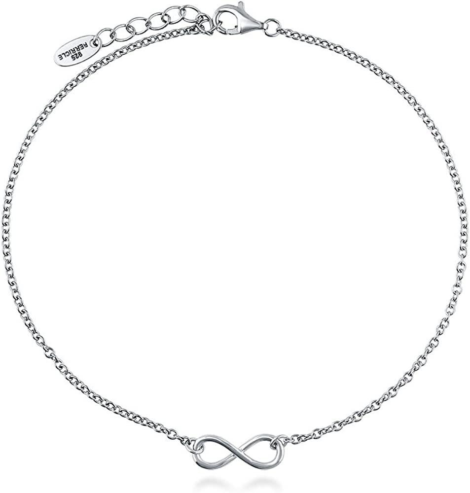BERRICLE Rhodium Plated Sterling Silver Infinity Anniversary Fashion Charm Anklet