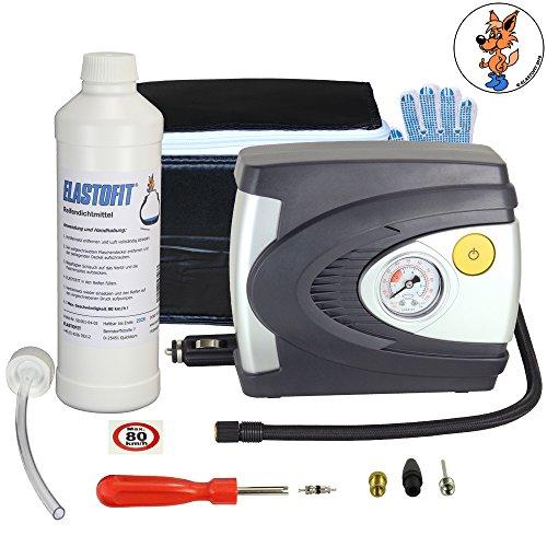 ELASTOFIT Reparaturset / Reifenpannenset für PKW inkl. Kompressor